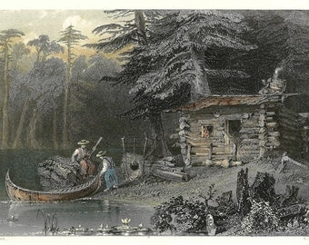 A Shanty On Lake Chaudiere - Engraved Print 1840 - Canadian Scenery - William H. Bartlett - R brandard - Hand Coloured Steel Engraving.