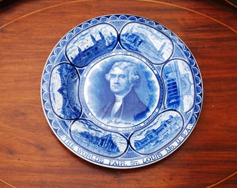 Worlds Fair 1904 Thomas Jefferson Flow Blue Plate St. Louis Rowland Marsellus Co