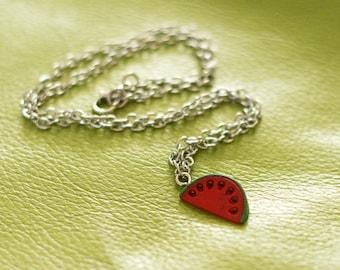 Watermelon necklace - watermelon pendant - kawaii necklace - fruit pendant - summer jewelry - beach jewelry - tropical fruit pendant