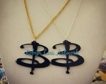 Buffy the Vampire Slayer B Letter Logo Necklace on Silver, Gold, Gunmetal or Bronze Crossed Chain. BTVS, Costume, Geek, Cult