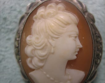 Antique Cameo Brooch Pendant Sterling Silver with Marcasite
