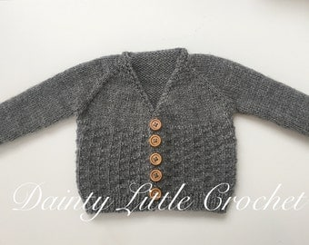 Grey Knitted Baby Cardigan