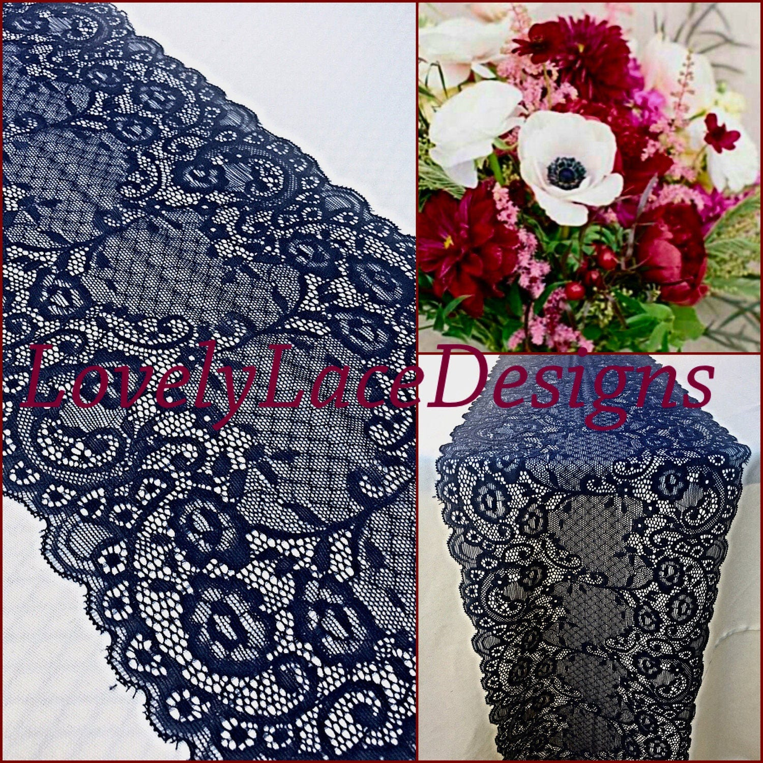 NAVY BLUE Lace/Table Runner/12ft 20ft Long X 8.25 Wide/Wedding Decor/Table  Decor/NAVY/Centerpiece/Ends Cut Not Sewn/Free Runner