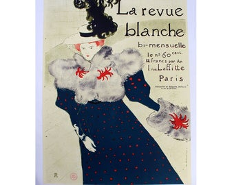Unframed La Revue Blanche Signed & Stamped by Toulouse Latrec Vintage Poster