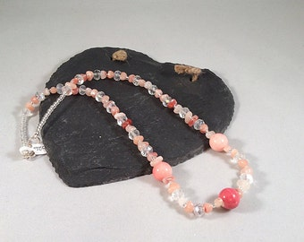 Coral and Clear Beaded Necklace