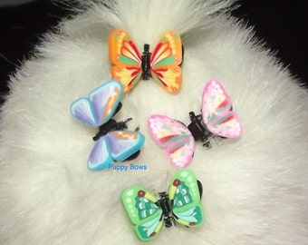 Puppy Bows ~Barrette  TINY jaw clip BUTTERFLIES bow dog Shih Tzu ~Usa seller
