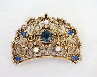 Vintage Victorian Brooch / Pin / JJ Brooch / Pin / Filigree Brooch / Pin / Saphire Brooch / Pin / Victorian Jewelry / Filigree Jewelry /