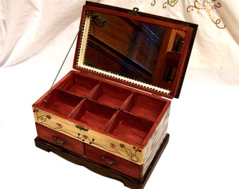 Personalized Mirror Box, Gift Vanity Box, Wife Gift Box, Handpainted Box, Wedding Gift Box for Woman, Shabby Chic Jewelry Box Wedding Deluxe