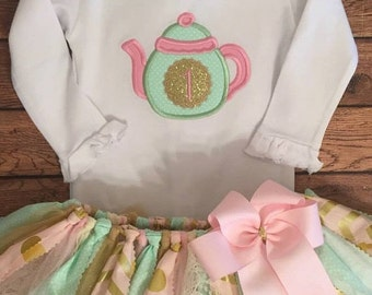 Pink, Mint, and Gold Tea Pot Birthday Tutu Outift