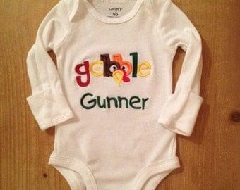 Boy Gobble Thanksgiving Turkey Embroidered Shirt or Baby Bodysuit