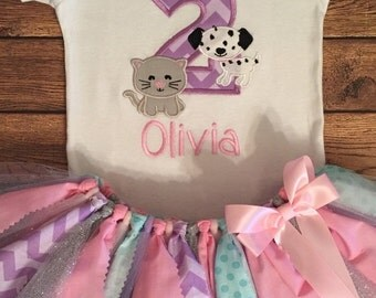 Puppy and Kitty Birthday Tutu Outfit