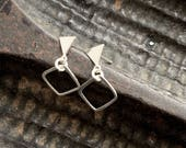 Triangle and square stud earrings, triangle and square post earrings, square studs, square and triangle post earrings
