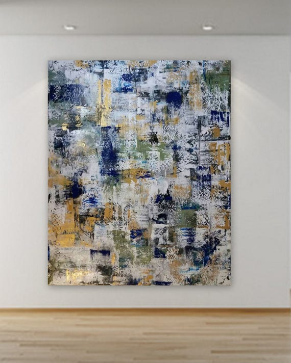 7.5 ft x 6.5 ft Large abstract painting/ gold, navy blue, black, white and sage green