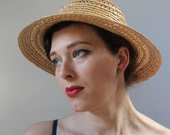 1990s straw hat 90s straw hat 80s hat 1980s hat vintage hat natural straw hat vintage style hat brimmed hat colonial hat brim bowler hat