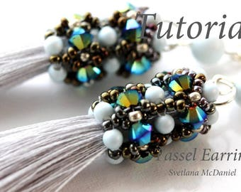 PDF instructions Tassel Earrings with Swarovski crystals seed beads pearls