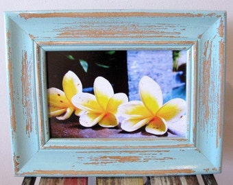 Rustic Wooden Framed Photograph, Distressed Photo Frame, Beach Photography, Mint Blue Picture Frame 4x6