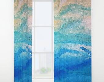 Decorative Mosaic Window Curtains - aqua, sand, coastal beach, wave, bedroom curtain, bathroom window, home decor