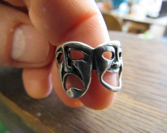 Vintage Comedy and Tragedy Silver Ring Size 7