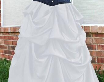 White Satin Steampunk Victorian Bella Bustle Pick-up Skirt Gothic Steampunk S thru XXL or custom