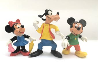 3 x 80s Disney Vintage Toy Bully Figurines Mickey Mouse/ Minnie Mouse/ Goofy