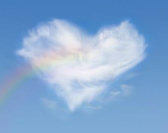 """Rainbow heart cloud: love card - 5x7"""" frameable"""