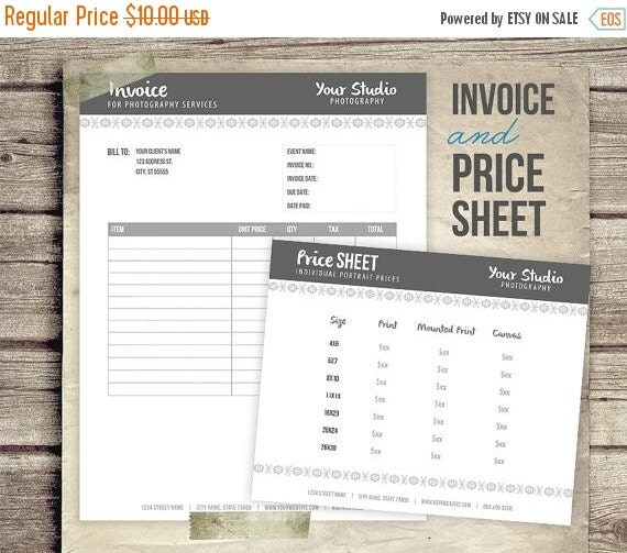 Business Pricing: ON SALE Invoice & Price Sheet Photography Business By FotoLuxe