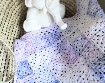 Handmade Baby Blanket, Granny Squares Baby Blanket, New Baby Girl, Lavender Lilac and Violet ~ 25 x 21