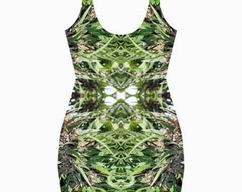 Body Con Dress,Ganja Dress in a Williams Wonder Marijuana Print,Beautiful Fractial Dew Drop Design,Rave Dress,Festival Dress,Clubwear Dress