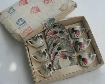 Vintage espresso set ,Kadar Israel 1960s ,vintage esspeso cups , hand painted espresso/ coffee cups .