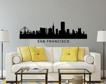 San Francisco California City Skyline Cityscape Silhouette Vinyl Wall Art Decal Sticker Graphic