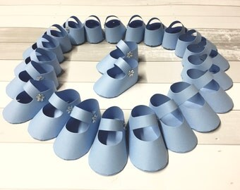 Paper Baby Shoes Paper Baby Booties Paper Baby Shower Baby Shower Favors Baby Shower Decorations Baby Shower It's A Boy 12 Included