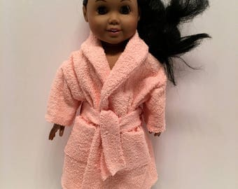 American Girl and Maplelea pink terry towel housecoat with tie