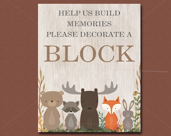 Woodland Baby Shower game, Decorate a Block Sign, Printable, Woodland Animals Baby Shower Decor - Baby Shower Sign, INSTANT DOWNLOAD 016