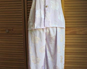 Vintage. Lavender/light purple/silky/floral. Nighties. Pants & top. Gold/Rhinestones/buttons. Compfy/lightweight. 1980s.