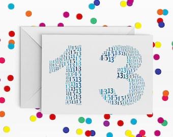 13 Birthday Card, Number Thirteen Card, Card for Teenager, 13th Birthday, Happy Birthday Card, 13th Birthday Card, Card for Girl, Barmitvah