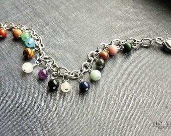 multi gemstone charm bracelet-multi gemstone bracelets-gemstone charm bracelet-stone charm bracelet-amethyts, lapis, moonstone bracelet