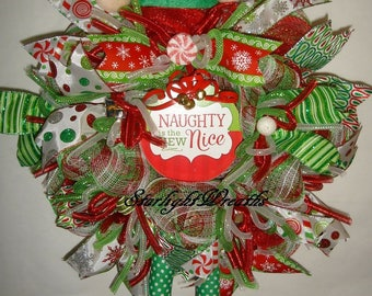 Sale - Elf Mesh Wreath, Christmas Elf Wreath, Christmas Wreath, Elf Wreath, Screen Door Decor, Naughty Is The New Nice