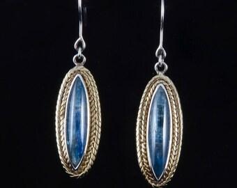 Kyanite 240 - Earrings - Sterling Silver and 24K Gold plating & Kyanite