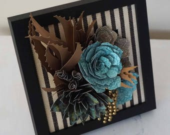 Paper Flower Succulent Wall Art Frame - Paper Succulents and Flowers in Antique Gold and Black