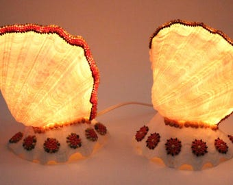Vintage Hand Crafted One of a Kind Pair of Hawaiian Ni'ihau Shell Table Lamps