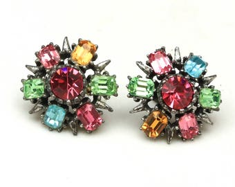 Vintage Coro Darkened Silver Tone Multi-Color Rhinestone Screw Back Earrings
