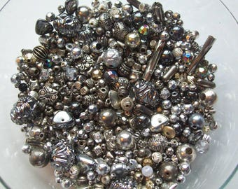 Silver and Metal Beads, 3 oz, Mystery Bag of Beads, Assorted Shapes, Assorted Sizes, Mixed Lot of Beads, Mixed Metal Beads, Jewelry Beads