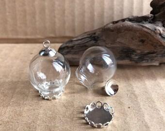 BULB GLOBE  20 mm - 1 pc glass pendant KIT silver