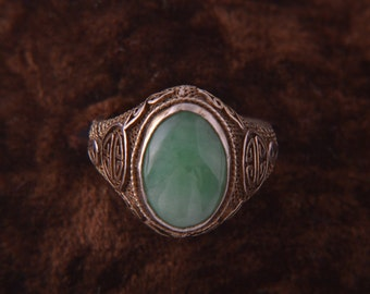 Silver Gilt 1920's Oriental Ring With Jade (908y124)