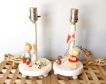 Vintage 1960s Wood Childrens Lamps Little Boy Dogs Set of 2