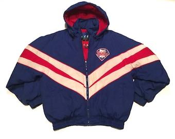 Vintage Philadelphia Phillies Winter Parka Jacket Medium 90s Insulated Blue