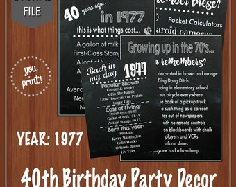40th Birthday Party Signs - 1977 - 40th Birthday Decor - Fun Facts about the 70's - Back in the 70's - Digital - 40th Birthday - Adult Signs