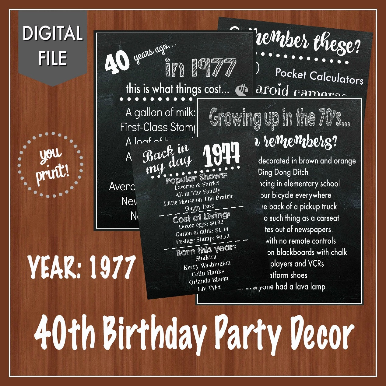 On Sale 40th Birthday Party Signs 1977 40th Birthday Decor Fun Facts