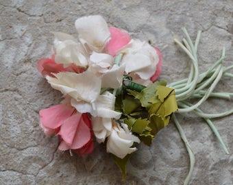 Vintage Fabric Flower Pin, Sweet Peas, Shabby Chic
