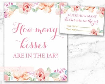 Guess How Many Kisses in the Jar Printable Sign and Cards, Floral Watercolor, floral pink bridal shower, DIY, INSTANT DOWNLOAD, 003